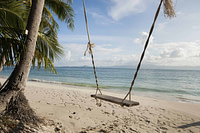 A swing on a beach overlooking the water. This picture is the feature photo for the Fiji section of Life Worth the Living that is coming soon.