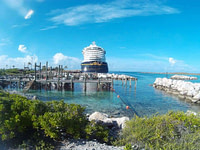 A photo of the Disney Cruise ship at the dock of Castaway Cay. This picture is the feature photo for the Disney Cruise section of Life Worth the Living