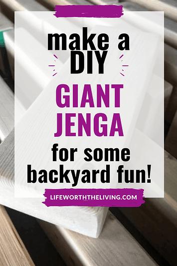 How to make a giant diy Jenga game pinterest pin