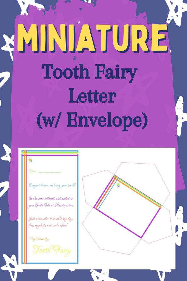 Tooth Fairy letter with miniature Envelope
