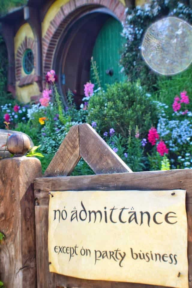 """Bilbo's front gate that reads """"No Admittance except on party business"""""""