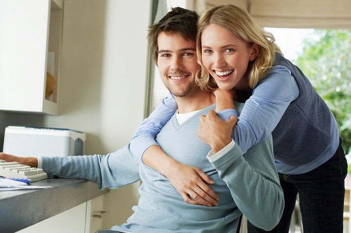 woman being affectionate with her husband
