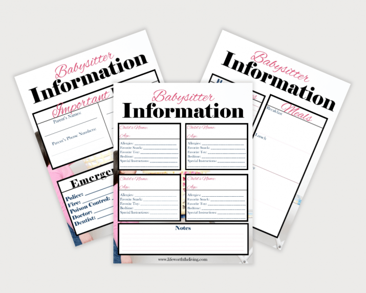 Babysitter Information Set has all the important information in one convenient location, including emergency contact information.